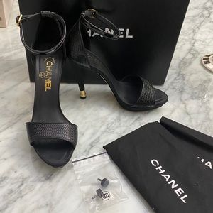 Authentic Chanel ankle strap sandals